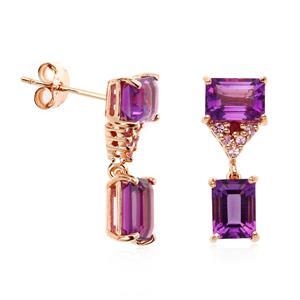 ต่างหูอะเมทิสต์(Amethyst) สีม่วง ประดับแซฟไฟซ์สีชมพู และทับทิม ตัวเรือนเงินแท้ชุบสีพิ้งค์โกลด์ (Pink Gold)