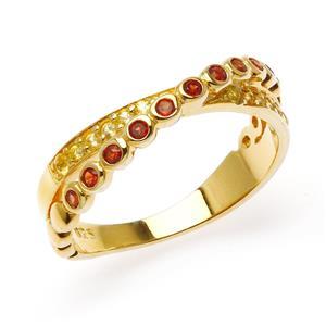 แหวนเงิน ชุบทอง18เค ประดับพลอย สีแดง โกเมน(Garnet) สีเหลือง บุษราคัม ( Yellow Sapphire) ในรูปแบบดีไซน์ที่เรียบๆแต่มีลูกเล่น ที่สร้างความโดดเด่น และสีสีนที่ดูลงตัว