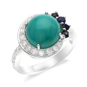 แหวน เทอร์ควอยซ์ (Turquoise) เจียระไนหลังเบี้ย ล้อมรอบด้วยไพลินและเพชรเซอร์คอเนีย ตัวเรือนเงิน 925 ชุบทองคำขาว