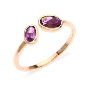 แหวนเงินแท้925 ประดับพลอยสีม่วง อเมทิสต์ (Amethyst) ดีไซน์เล็กๆ สวยดูมีสไตล์ ตัวเรือนชุบพิ้งโกล์ด