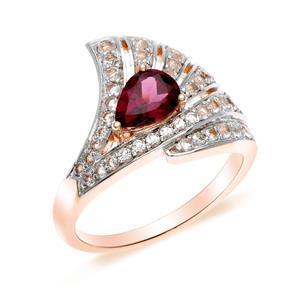 แหวนเงินแท้ประดับพลอยสีม่วงอมแดง โรโดไรท์ (Rhodolite) และโทแพซสีขาว ดีไซน์รูปพัด สวยเก๋ดูสง่า ชุบด้วยทองชมพู