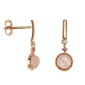 ต่างหูโรสควอตซ์ (Rose Quartz) และแซฟไฟร์สีชมพู (Pink Sapphire) ตัวเรือนเงินแท้ชุบพิงค์โกล์ด