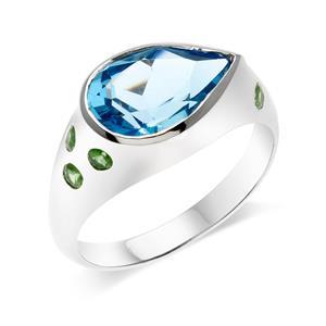 แหวนบลูโทแพซ (Swiss Blue Topaz) สีฟ้า ทรงหยดน้ำ ประดับด้วยซาโวไรท์ ตัวเรือนเงินแท้ 925 ชุบโรเดียม
