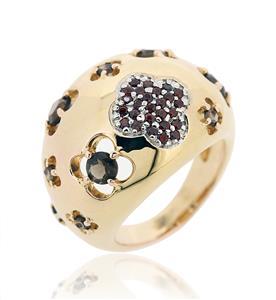 แหวนเงินแท้ ชุบทอง ประดับพลอยโกเมน (Garnet) และสโมกกี้ควอตซ์ (Smoky Quartz) สวยแตกต่างด้วยดีไซน์