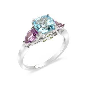 แหวนเงินแท้ 925 ชุปทองคำขาว ประดับบลูโทแพซสีฟ้า (Blue topaz ) อเมทิสต์ (Amethyst) และ เพอริดอท (Peridot ) ดีไซน์เรียบง่ายแต่ทันสมัย