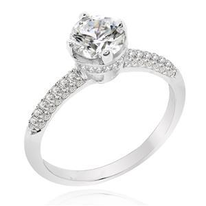 แหวนเพชรDiamondLike ชูเพชรเม็ดหลักสวยเด่น เน้นเรียบหรู ดูเก๋ไก๋ ตัวเรือนเงินแท้ชุบทองคำขาว