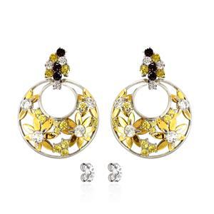 ต่างหูเงินแท้ 925 ชุบทองขาว และ ชุปทองคำ ประดับด้วย Swarovski Zirconia ฉลุลายดอกไม้น่ารัก