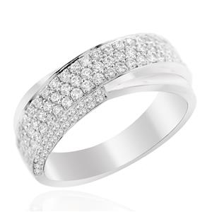 แหวนเพชร DiamondLike ดีไซน์สุดคลาสสิคเพชร DiamondLike เรียงแถวซ้อนกัน 2 วง บนตัวเรือนเงินแท้ชุบทองคำขาว