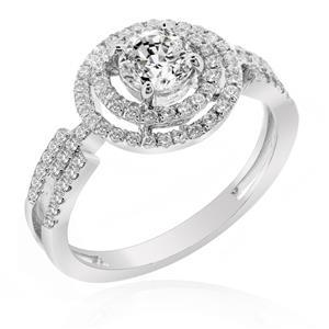 แหวนเพชร DiamondLike เพชรรูปทรงกลมซ้อนกันถึง 3 ชั้น บนตัวเรือนเงินแท้ชุบทองคำขาว