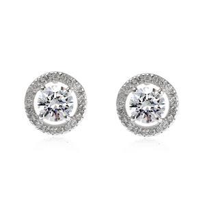 ต่างหู DiamondLike ขนาด 5มิล ล้อมรอบด้วย คิวบิคเซอร์โคเนีย ตัวเรือนเงินแท้ชุบทองคำขาว สวยงามอลังการ ใส่ติดหูดูดีได้ทุกวัน