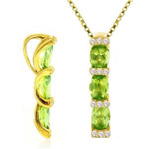 จี้ เพอริดอท(Peridot)สีเขียว ประดับด้วยพลอย คิวบิกเซอร์โคเนีย (Cubic Zirconia) สีขาว ตัวเรือนเงินแท้ 925 ชุบทองคำ