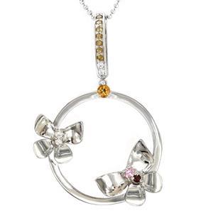 จี้ดีไซน์ผีเสื้อโดดเด่น ประดับพลอยหลากสี ซิทริน (Citrine) แซฟไฟร์สีชมพู (Pink Sapphire) โกเมน (Garnet) แชมเปญควอทส์ Champagne Quartz และเพชร DiamondLike ตัวเรือนเงินแท้ชุบทองคำขาว