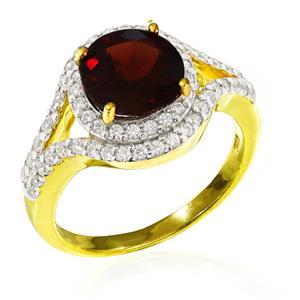แหวนโกเมน(Garnet) ตัวเรือนเงินแท้ 925 ชุบทองคำ ประดับด้วย SWAROVSKI ZIRCONIA สีขาว สวยคลาสสิค  เสริมบุคลิกเพิ่มความมั่นใจ