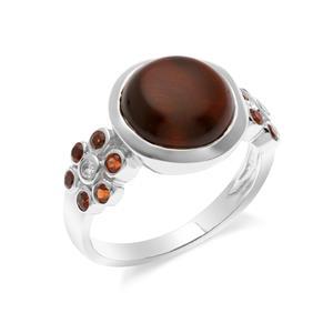 แหวนพลอยตาเสือ (Tiger's Eye) เม็ดโต ประดับ โกเมน(Garnet) และ คิวบิกเซอร์โคเนีย (Cubic Zirconia) ตัวเรือนเงินแท้ชุบทองคำขาว