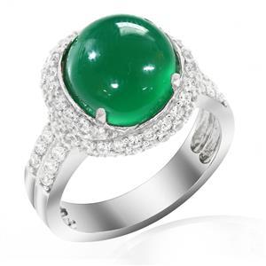 แหวนเงินแท้ ประดับด้วย อาเกต(Agate) สีเขียว ล้อมเพชรDiamondLike ดีไซน์สุดหรูหรา บนตัวเรือนเงินแท้ชุบทองคำขาว