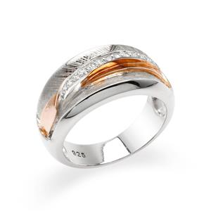 แหวนประดับ SWAROVSKI ZIRCONIA สีขาว ตัวเรือนเงินแท้925 มี Texture ชุบทอง 2 สี พิ้งค์โกลด์ และทองคำขาว
