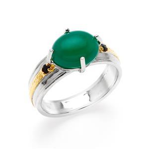 แหวน อาเกต(Agate) สีเขียว ประดับด้วยไพลิน(Blue Sapphire) เม็ดเล็ก ตัวเรือนเงินแท้ 925 ชุบทอง 2 สี ทองคำและ ทองคำขาว
