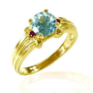 แหวน บลูโทแพซ(Blue Topaz) ดีไซน์เรียบหรูมีระดับ ประดับด้วย ทับทิม(Ruby) เม็ดเล็ก ตัวเรือนเงินแท้ 925 ชุบทองคำ18K