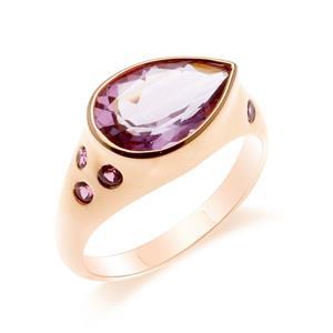 แหวนอเมทีสต์ (Amethyst)  สีม่วง ทรงหยดน้ำ ประดับด้วยซาโวไรท์ ตัวเรือนเงินแท้ 925 ชุบทองสีชมพู พิ้งโกลด์