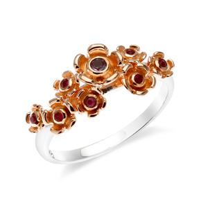แหวนดอกไม้ประดับด้วยพลอย ทับทิม(Ruby) และ อเมทีสต์ (Amethyst) ตัวเรือนเงิน ชุบทองคำขาวและพิ้งค์โกลด์