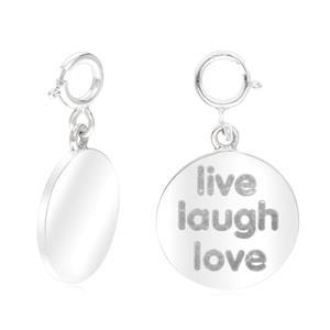 """ชาร์มแท็กนำโชคแผ่นกลม ตัวเรือนเงินแท้925 ชุบทองคำขาว พิมพ์คำว่า"""" Live lough love """" มีชีวิต หัวเราะ รัก"""