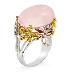 แหวนพลอยโรสควอตซ์(Rose Quartz)สุดแสนอ่อนหวาน เหมาะสำหรับสาวหวานเป็นที่สุด ตัวเรือนเงินแท้ชุบทองคำขาว