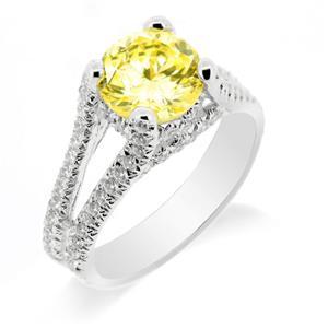แหวนเงินแท้ ประดับเพชร DiamondLike สี Yellow Lite ดีไซน์หรูหราคลาสสิค
