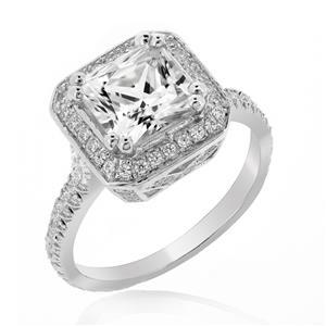 แหวนดีไซน์คลาสสิค ประดับเพชร Diamond Like ตัวเรือนเงินแท้ชุบทองคำขาว