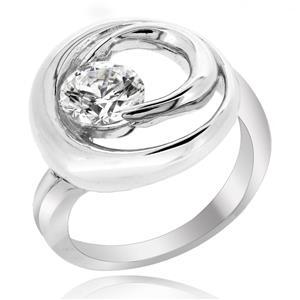 แหวนเพชร DiamondLike ดีไซน์เก๋มากๆ ประดับด้วยเพชร 1 กะรัต วนรอบด้วยตัวเรือนเงินเป็นวงกลมสองชั้น