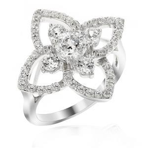 แหวนเงินแท้ ประดับด้วย Diamondlike  เสริมบุคลิกเพิ่มความมั่นใจ
