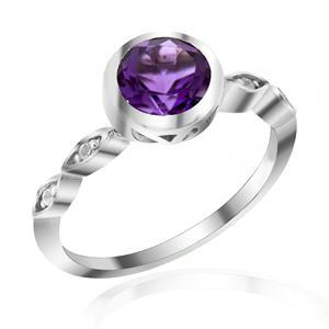 แหวนพลอยอเมทิสต์(Amethyst) ดีไซน์รูปทรงกลมสุดคลาสสิค ตัวเรือนเงินแท้ชุบทองคำขาว