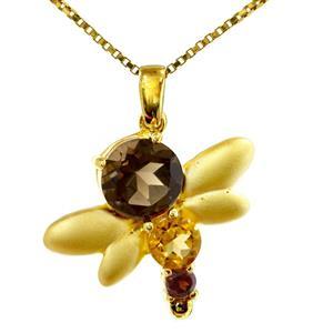 จี้พลอยสโมคกี้ควอตซ์(Smoky Quartz) ดีไซน์รูปแมงปอน่ารักสุดๆ เหมาะสำหรับมอบให้เป็นของขวัญ ตัวเรือนเงินแท้ชุบทองคำแบบขัดด้าน