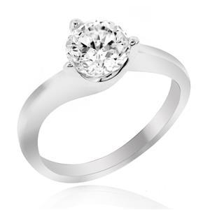 แหวนเพชร DiamondLike เรียบหรูคลาสสิค ประดับด้วยเพชรชนาด 1 กะรัต บนตัวเรือนเงินแท้ชุบทองคำขาว