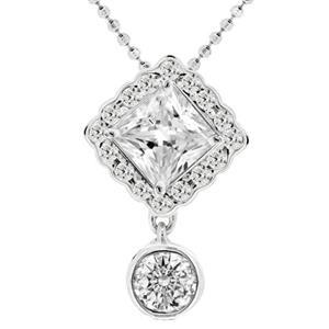 จี้เพชร Diamond Like ดีไซน์คลาสสิค ตัวเรือนอัลลอยด์อิตาลี่ ชุบทองคำขาว