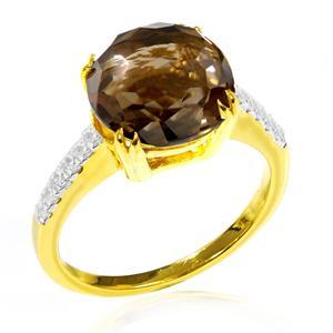 แหวนพลอยสโมคกี้ควอตซ์ (Smoky Quartz) Fancy Cut ประดับเพชร DiamondLike ตัวเรือนเงินแท้ชุบทอง เรียบหรูในแบบคลาสสิค