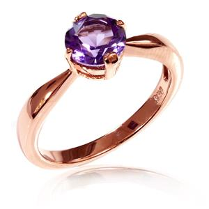 แหวนพลอยอเมทิสต์ (Amethyst) สุดคลาสสิค บนตัวเรือนเงินแท้ชุบพิ้งค์โกลด์