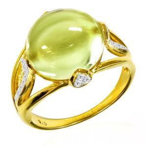 แหวนพลอยเลมอนควอตซ์(Lemon Quartz)  รูปทรงกลมมน เหมาะสำหรับใส่ไปงานสังคมสุดๆ บนตัวเรือนเงินแท้ชุบทองคำ