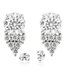 ต่างหู DiamondLike ขนาด 5มิล ประดับด้วยคิวบิคเซอร์โคเนีย ตัวเรือนเงินแท้ 925 ชุบทองคำขาว เรียบหรูดูดีมีดีไซน์