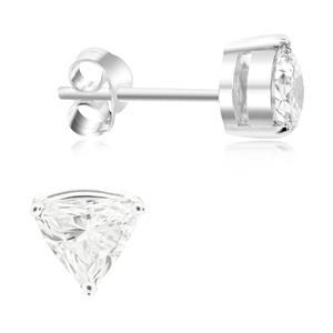 ต่างหูเพชร DiamondLike รูปทรงสามเหลี่ยม เหมาะสวมใส่ได้เรื่อยๆ ไม่มีเบื่อ บนตัวเรือนเงินแท้ชุบทองคำขาว
