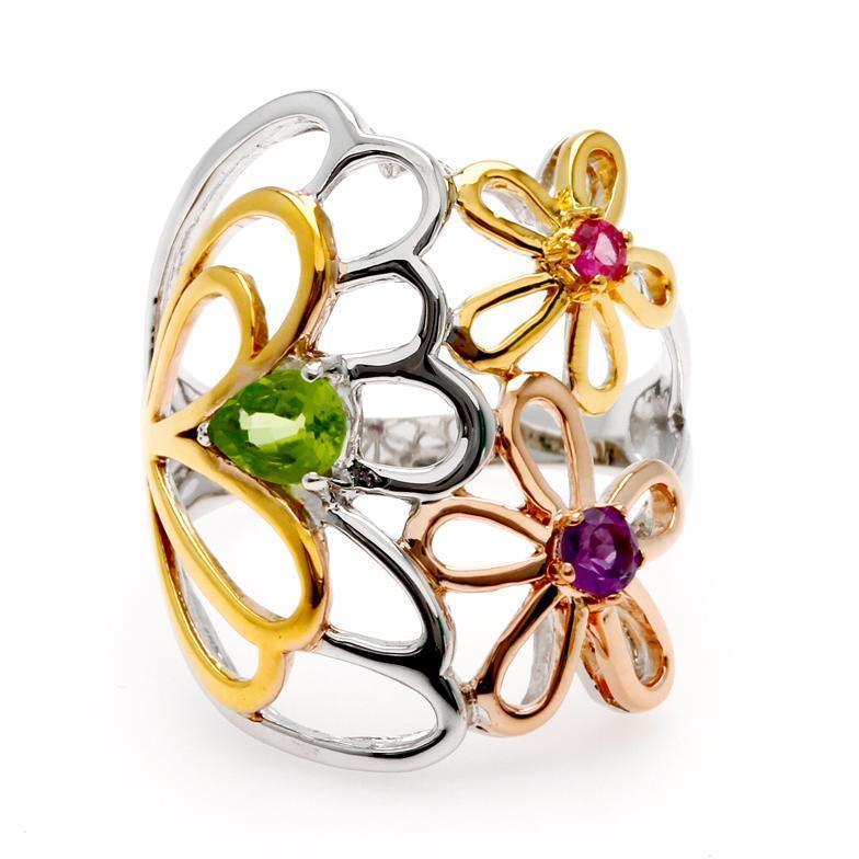 แหวนดอกไม้ ประดับทับทิม เพอริดอทและอะเมทิตส์ ตัวเรือนเงินแท้ ชุบทองทรีโทน สวยน่าหลงไหลสุดๆ