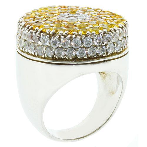 แหวนพลอยแซฟไฟส์สีเหลือง(Yellow Sapphire) สุดตระการตา บนตัวเรือนเงินแท้ชุบทองคำขาว