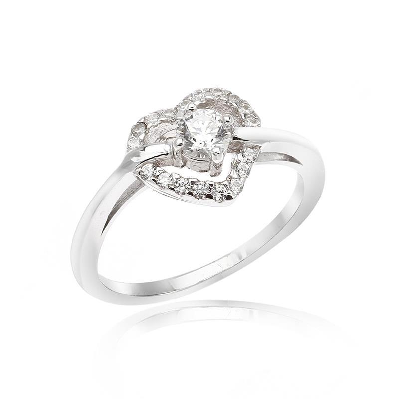 แหวนหัวใจเงินแท้ 925 LENYA ETERNAL ชุบทองคำขาว ประดับด้วย SWAROVSKI ZIRCONIA สีขาว สวยคลาสสิค  เสริมบุคลิกเพิ่มความมั่นใจ