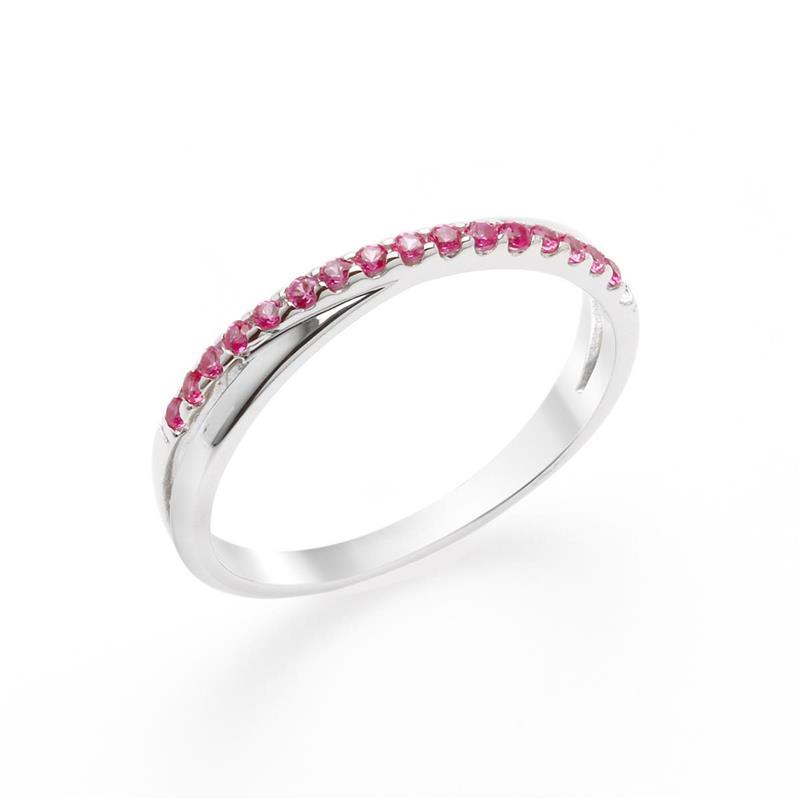 แหวนประดับ SWAROVSKI ZIRCONIA สีชมพู  ตัวเรือนเงินแท้ ชุบทองขาว