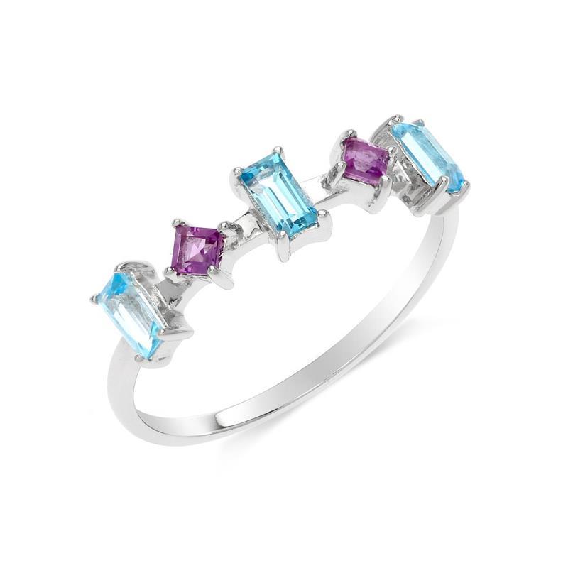 แหวนเงินแท้ ดีไซน์เก๋ไก๋ ประดับพลอยอเมทิสต์ (Amethyst) บลูโทแพซ (Blue Topaz) แหวนสวยไม่ซ้ำใคร หรูหรา เหมาะกับสาวๆ