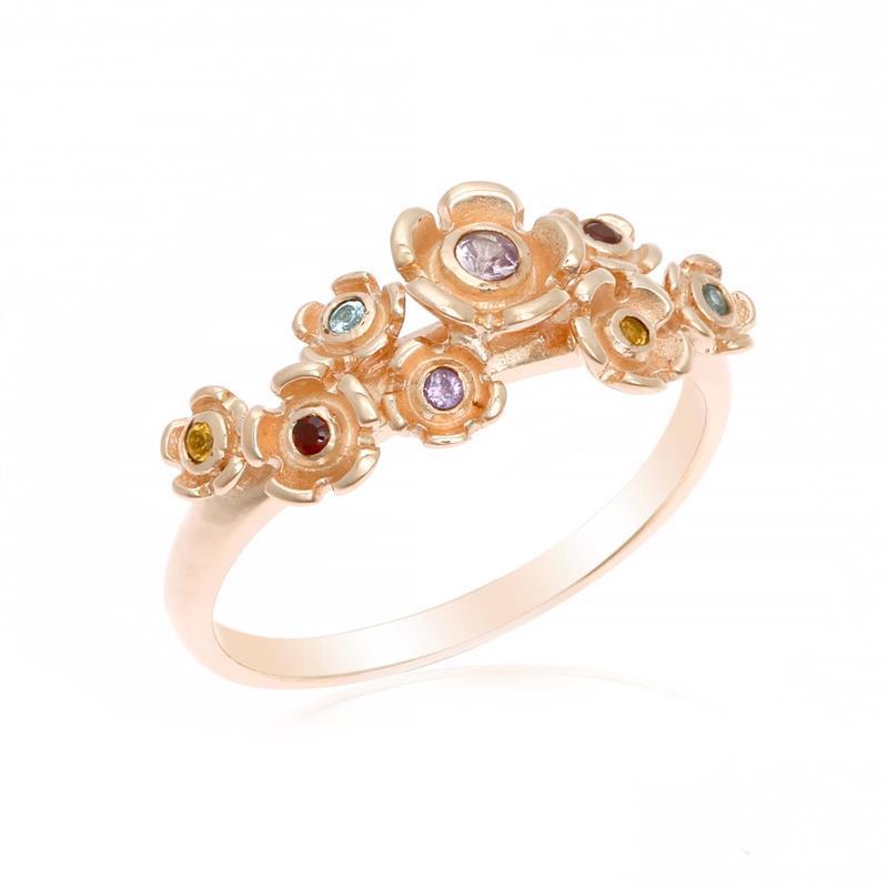 แหวนดอกไม้ประดับด้วยพลอย อเมทีสต์ (Amethyst) แซฟไฟร์สีชุมพู(Pink Sapphire) ซิทริน(Citrine) บลูโทแพซ(Blue Topaz) และโกเมน(Garnet)  ตัวเรือนเงิน ชุบทองคำขาวและพิ้งค์โกลด์