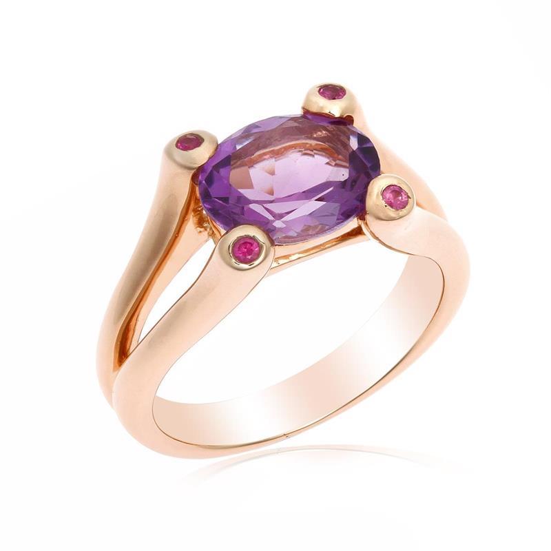 แหวน อเมทีสต์ (Amethyst) พร้อม ทับทิบ(Ruby) ตัวเรือนเงินแท้ 925 ชุบทองพิ้งโกลด์