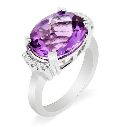 แหวนเงินแท้ ประดับพลอยอเมทิสต์ (Amythyst) เม็ดโต ล้อมด้วยเพชร DiamondLike