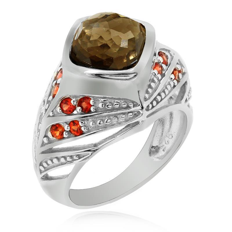 แหวนประดับพลอยสโมคกี้ควอทซ์ (Smoky Quartz) เม็ดโต ตัวเรือนเงินแท้ชุบทองคำขาว