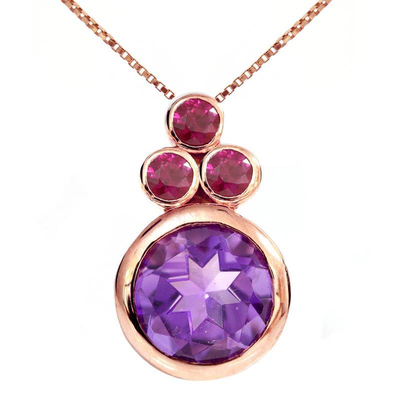 จี้พลอยอเมทิสต์ (Amethyst) สีม่วง ประดับทับทิม สีชมพู   ตัวเรือนเงินแท้ชุบพิ้งค์โกลด์(Pink Gold)