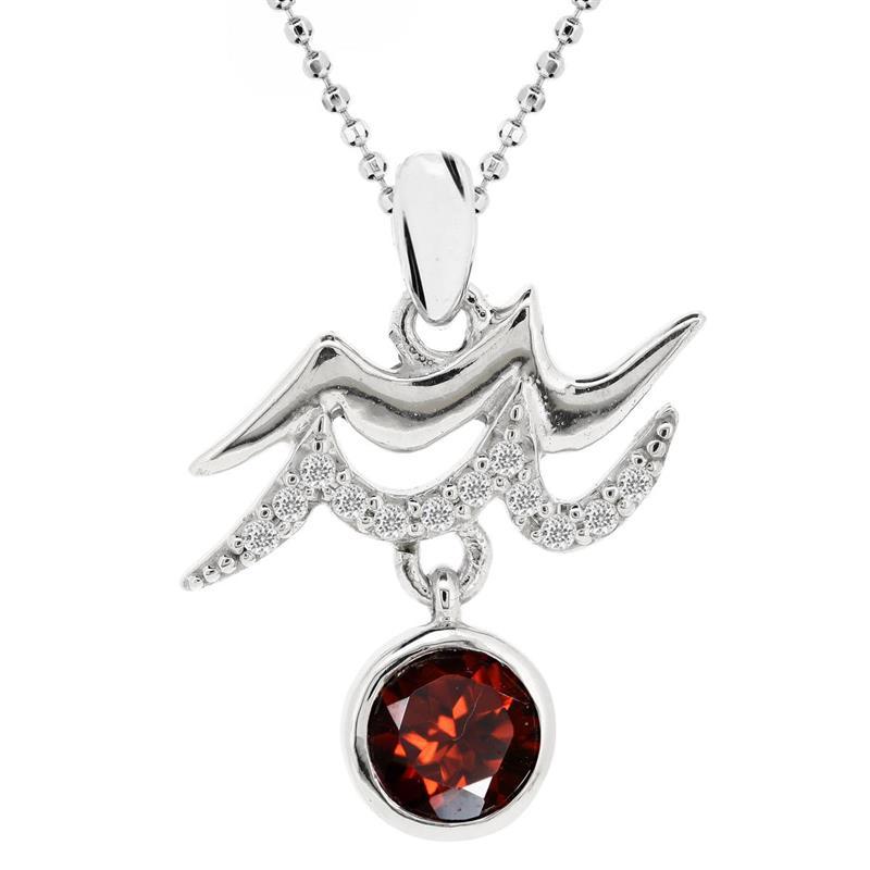จี้พลอยโกเมน(Garnet) สัญลักษณ์ Zodiac ประจำราศีกุมภ์ ความมั่นใจในตัวเองสูง และหนักแน่นทางความคิด บนตัวเรือนเงินแท้ชุบทองคำขาวแท้